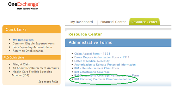 One Exchange Finding The Reimbursement Form